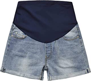 GINKANA Maternity Denim Shorts Jean Lounge Shorts Full Panel Pants for Pregnant Women