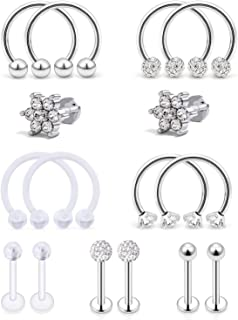 Ocptiy Cartilage Earring Stud Forward Helix Tragus Earrings Stainless Steel Labret Lip Medusa Monroe Piercing Ring Stud for Women Men 16G