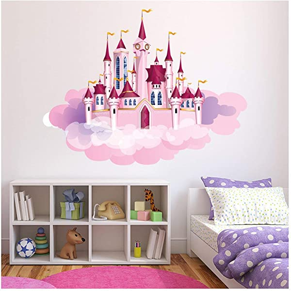 Azutura Princess Castle Clouds Wall Sticker Fairytale Wall Decal Girls Bedroom Decor Available In 8 Sizes Large Digital