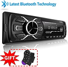SjoyBring Bluetooth Car Stereo with Wireless SWC Remote and Phone Charging Port, Hands Free Calling, USB/TF Card/Aux-in/FM Radio Receiver
