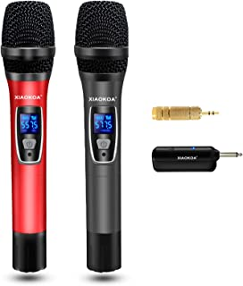 Handheld Wireless Karaoke Microphone,UHF Dual Channel Professional Dynamic Microphone for Party, Church,Singing,Compatible...