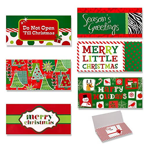 24 Pack Assorted Christmas Gift Card Holders with Envelopes / Christmas Money Cash Card Holders / Holiday Greeting Cards