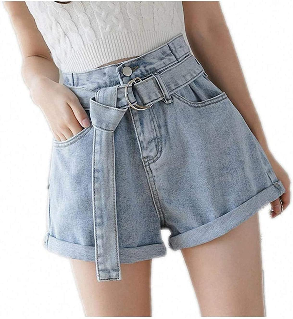 Tayaho Summer Jeans for Women Denim Shorts Vintage High Waist Blue Wide Leg Ladies Shorts