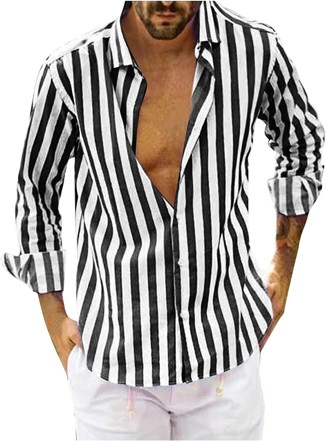 Aayomet Men's Striped Button Down Shirts Casual Long Sleeve T-Shirt Loose Daily Workout Yoga Sport Beach Tee Shirts Tops