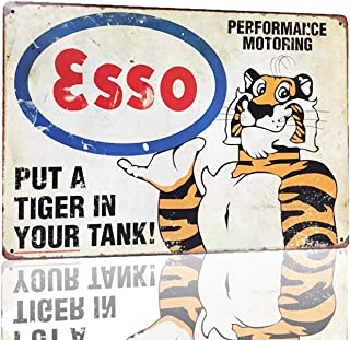 MMOUNT Esso Put A Tiger in Your Tanx Metal Tin Sign Wall Sign by Retro Style Bar Back Diner Cafe Home Art Poster Plaque House Gift 12X8Inch