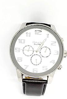 ساعة اوماكس للرجال - رياضية، متعددة الألوان، مينا ابيض - سوار من الجلد - مقاومة للماء - Beeb1220
