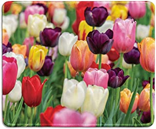 dealzEpic - Art Mousepad - Natural Rubber Mouse Pad Printed with Tulips of Various Colors - Stitched Edges - 9.5x7.9 inches