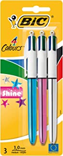 BIC 4 Colours Shine Retractable Ball Pens Medium Point (1.0 mm) - Assorted Body Colours, Pack of 3