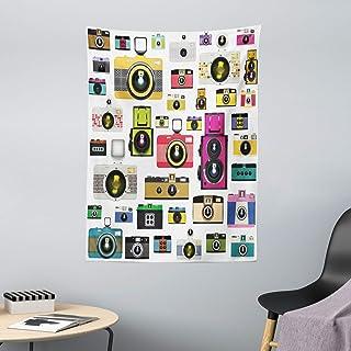 ABAKUHAUS Vintage Tapiz de Pared y Cubrecama Suave Cámaras Fotográficas Vintage Antiguas Pasatiempo Artístico Tema Estudio Diseño Decoración para el Cuarto 110 x 150 cm Multicolor