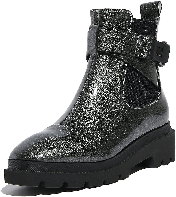 Original Intention Women's Ankle Boots Low Heels Chelsea Combat Boots shoes Women Brown