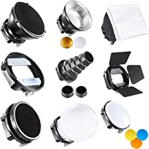 Neewer Camera Speedlite Flash Accessories Kit with Barndoor, Conical Snoot, Mini Reflector, Sphere Diffuser, Beaty Disc, 8x12inches Softbox, Honeycomb, Color Filters, Universal Mount Adpater