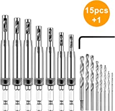 Center Drill Bit Set, EEEKit 15Pcs Self Centering Hinge Hardware Drill Bits Set, Adjustable Door Window Drill Bit for Hinges/Handles/Drawer Slides/Woodworking