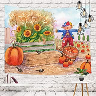 NYMB Vintage Thanksgiving Day Tapestry Wall Hanging, Retro Pumpkin Patch with Scarecrow Birds and Sunflowers Wall Tapestry Art for Dorm Decor Living Room Bedroom Bedspread Wall Decor, 71X60in