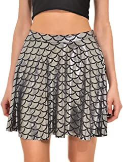 Womens Stretchy Fish Scale Mermaid Print Flared Skirt S-4XL