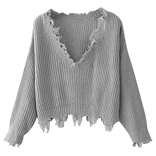 4fcdb84a94cd4 ZAFUL Women s Loose Long Sleeve V-Neck Ripped Pullover Knit Sweater Crop Top