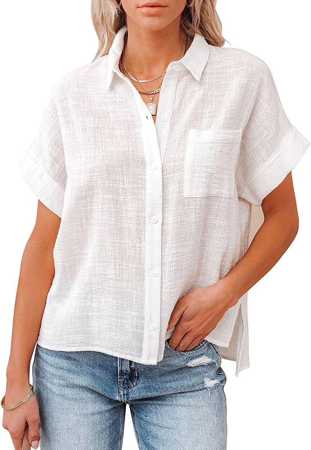Womens Button Down V Neck Shirts Short Sleeve Cotton Linen Tops Loose Fit Casual Work Plain Blouses with Pocket S-3XL