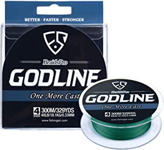 FISHINGSIR GODLINE Braided Fishing Line - Super Power Braid Lines - Abrasion Resistant Superline, 150-1094 Yds, 8-120LB