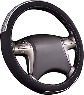 NEW ARRIVAL- HORSE KINGDOM Universal Steering Wheel Cover Breathable Fit Car Truck SUV Air-mesh (black with grey)