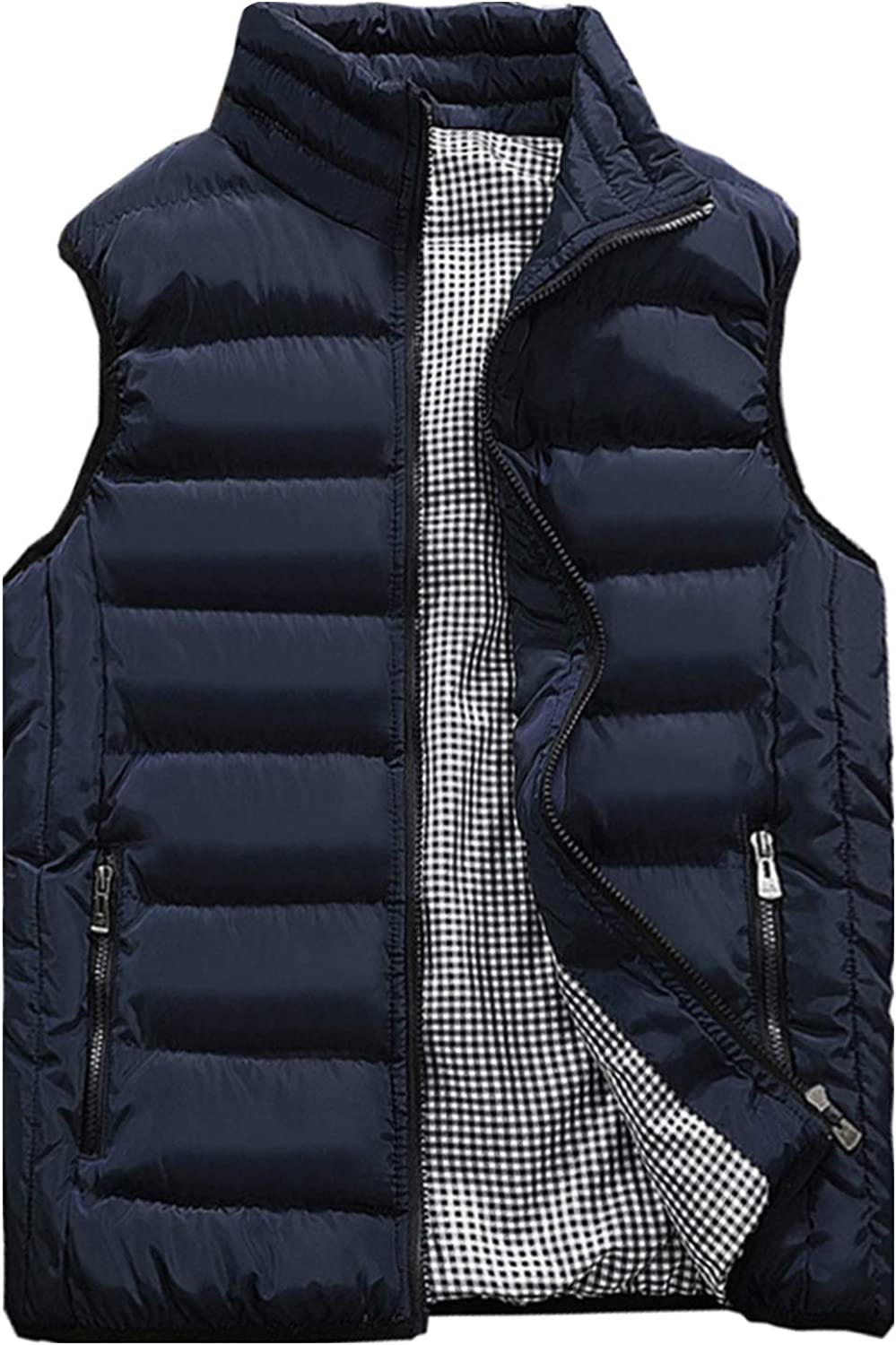 Vcansion Men's 5 ☆ popular Outdoor Casual Stand Padded Coats Vest Selling and selling Collar