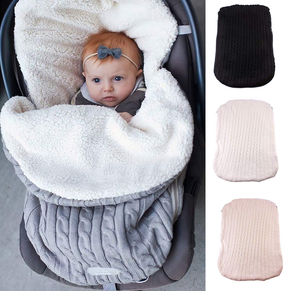 Fleece-Futter weich warm f/ür Kleinkinder Baby Pucksack Kinderwagen gestrickt Schlafsack dick