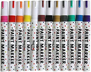 Red Dot Oil Paint Markers - Rock, Wood, Glass, Metal, Ceramic - Paint Pens for Almost All Surfaces Rainbow Set of 12 Brilliant Oil Paint Marker Colors, Quick Dry, Water Resistant, Permanent, Archival