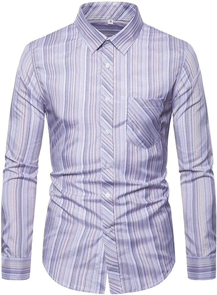Men's Long Sleeve Button Down Collar Shirt, Casual Stripe Dress Shirt Top for Men Formal Wedding Party Dinner