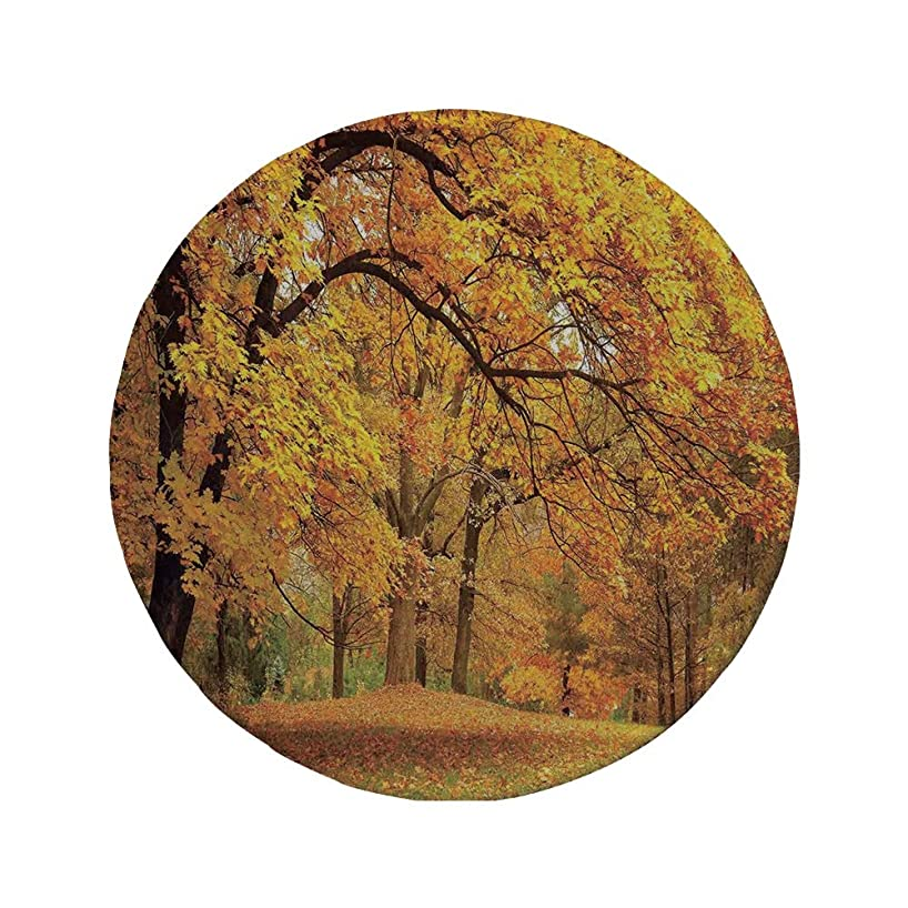 Non-Slip Rubber Round Mouse Pad,Farm House Decor,Gold Fall Scenery with Pale Maple Leaves in The Forest November Season Woodlands,Orange Brown,7.87