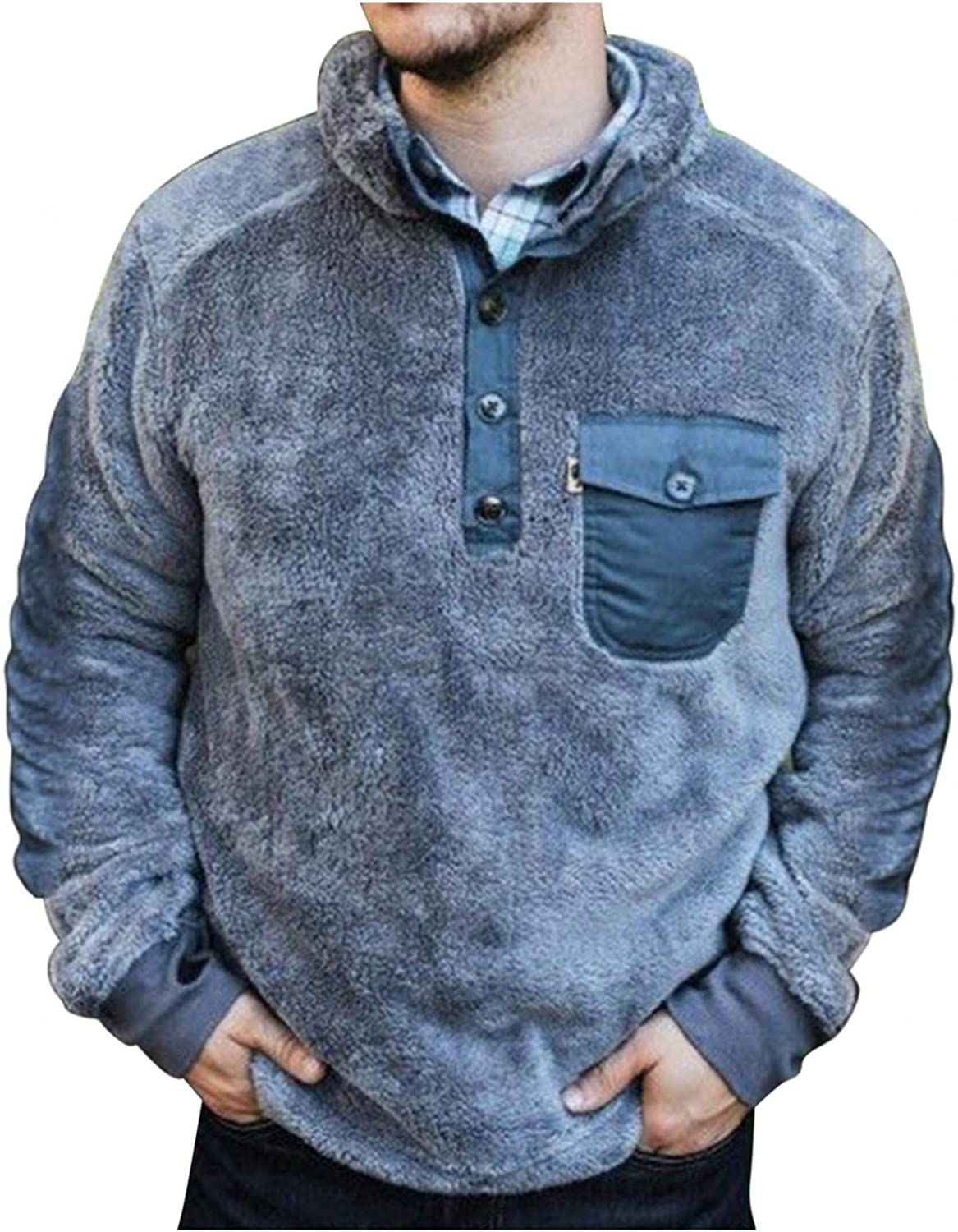Sweatshirts for Men Casual Polo Long Sleeve Button Plain Faux Fur Pullover Sweater Tops with Pocket