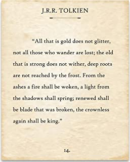 J.R.R. Tolkien - All That Is Gold Does Not Glitter - Book Page Quote Art Print - 11x14 Unframed Typography Book Page Print - Great Gift Under $15 for Book Lovers