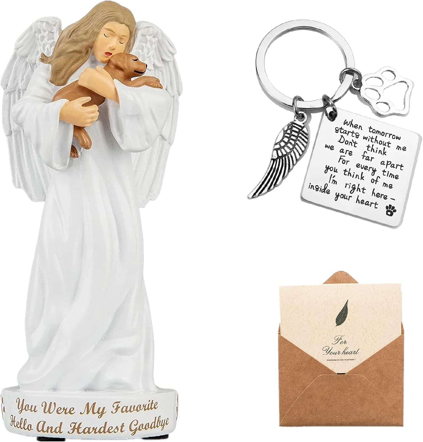 NovoMoss Dog Memorial Gifts - Dog's Angle Figurine Statue with Remembrance Keychain and Enclosure Card - Sympathy Gift Ideas for Loss of Dog Decor
