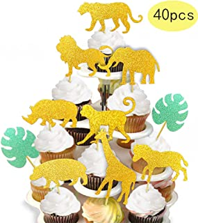 ALISSAR 40-Pack Glitter Safari Jungle Animal Cupcake Toppers with Leaves, Safari Jungle Theme Baby Shower Party Cake Food Decoration Supplies