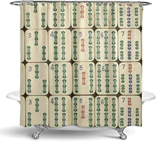 NiYoung Hotel Quality Fabric Shower Curtain for Bathroom - Machine Washable - 72 X 72 Inch - Cool China Mahjong