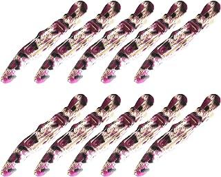 【GLASS FROG】アニマル柄 ダッカール ワニクリップ ヘアクリップ 10本 115mm 美容師(ヒョウ柄ピンク)