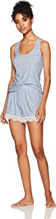 Selene Women's Sleepwer Knit Sleeveless Racerback Tank Top and Shorts Pajama Set Soft PJ Sets Laced-Bottom