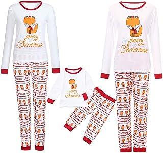 kingfansion Women Family Matching Christmas Pyjamas Cartoon Letter Print Top+Pants