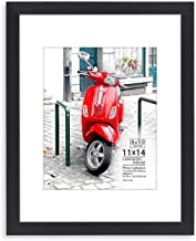 Langdon House 11x14 Frame (Black, 1 Pack) 11 x 14 Photo Frame with Mat for 8x10 Picture, Sturdy Wood Composite, Wall Mount Hooks Included with Black Picture Frames, Prima Collection