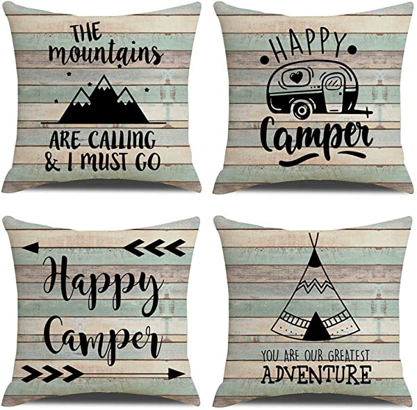 KACOPOL Vintage Rustic Wood Background Happy Camper Pillow Covers Inspirational Quotes Home Outdoor Decorative Cotton Linen Throw Pillow Case Cushion Cover 18 X 18 Set Of 4 Happy Camper