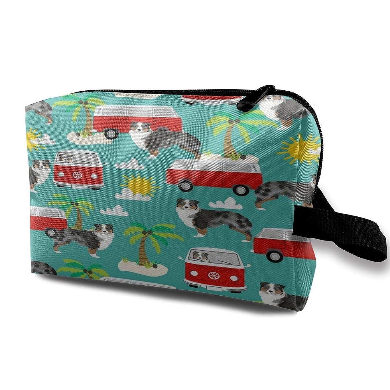 哲学ハック温度Australian Shepherd Beach Mini Bus 収納ポーチ 化粧ポーチ 大容量 軽量 耐久性 ハンドル付持ち運び便利。入れ 自宅?出張?旅行?アウトドア撮影などに対応。メンズ レディース トラベルグッズ