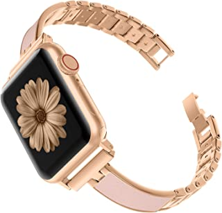 TOYOUTHS Compatible with Apple Watch Band Rose Gold Women 40mm Series 5 4 Metal Slim Bracelet Replacement Wristband Jewelry Pink Compatible with iWatch Series 3 2 1 38mm(Series 3&4 Gold, 38mm/40mm)