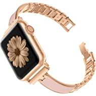 TOYOUTHS Compatible with Apple Watch Band Rose Gold Women 40mm Series 4 Metal Slim Bracelet...