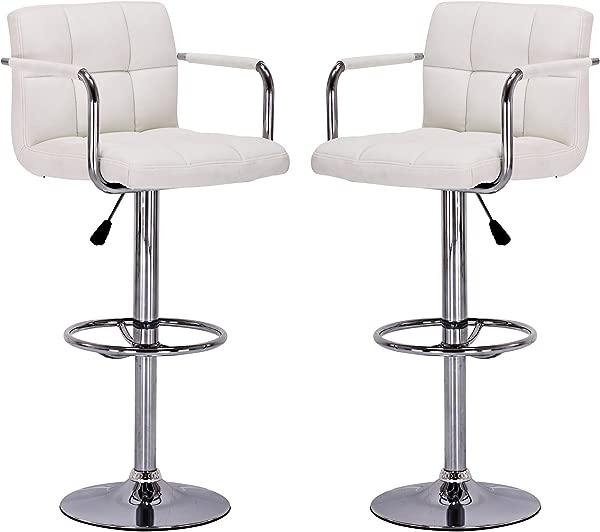 Vogue Furniture Direct White Leather Adjustable Height Swivel Barstool Set With Armrest And Footrest Set Of 2 VF1581011 2