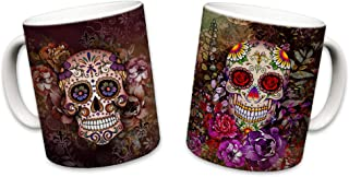 Sweet Gisele | 2 Mug Set | Sugar Skull Mugs | Ceramic Floral Print Coffee Cup | Day of the Dead Design | Beautiful Vivid Colors | Great Novelty Gift | Multicolor Mugs | 11 Fl. Oz (Brown & Purple)