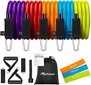 Resistance Bands Set with Handles, Heavy Duty Workout Bands, Natural Latex Resistant Fitness Bands, Stackable Up to 150 LBS with 3 Mini Bands - for Men Women Home Workout Training Exercise Equipment