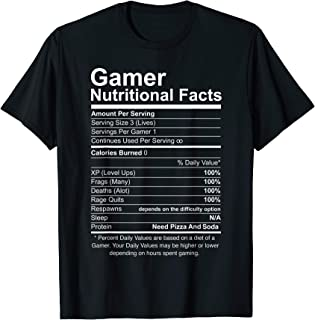 Gamer Nutritional Facts Cool Gamer Video Game Funny T-Shirt