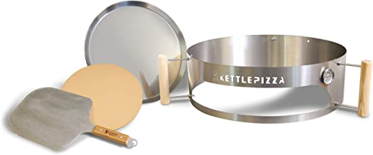 KettlePizza Pizza Oven Kit for 26 Inch Weber Kettle Includes Stone & Metal Peel - Weber 26 Pizza Oven