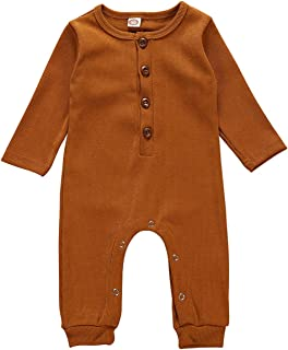 Sponsored Ad - Kislio Newborn Unisex Baby Boys Girls Romper Solid Color Long Sleeve Jumpsuit Clothes