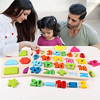 3 in 1 Puzzles for Toddlers 3 Piece Wooden Peg Puzzle Set - Alphabet ABC, Numbers and Shapes Toy - Puzzles for Kids Learning Letters, Number, Shape Board for Toddlers Ages 3+