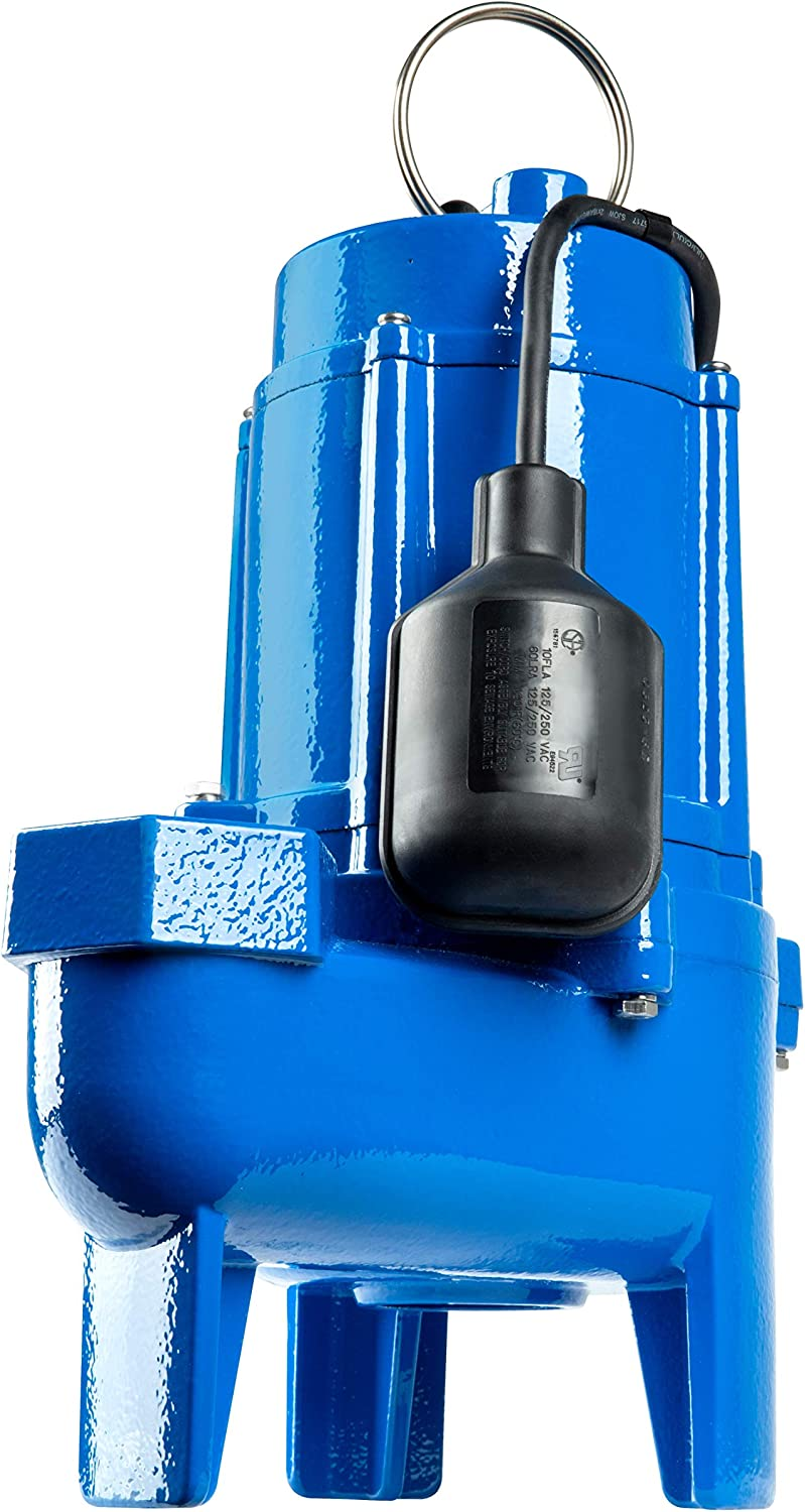 Little Giant LG-SEW75T 3/4 hp Cast Iron Sewage Pump with Tethered Switch, Blue