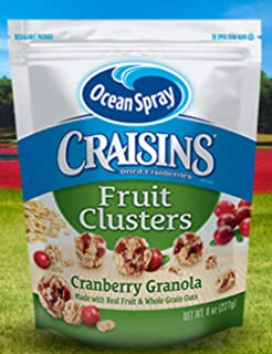 Ocean Spray, Craisins, Fruit Clusters, 8oz Bag (Pack of 3) (Choose Flavors Below) (Dried Cranberries Fruit Clusters Cranberry Granola)