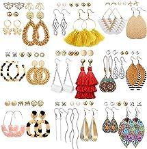 47 Pairs Fashion Earrings for Women Girls, Boho Statement Tassel Rattan Leather Earrings Ethnic Fashion Butterfly Stud Acr...
